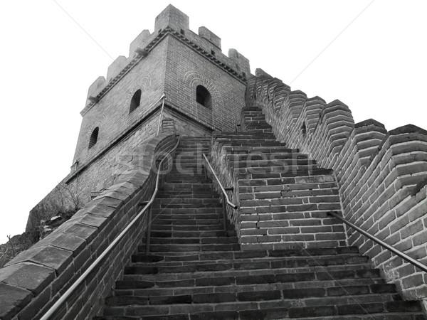Nagy Fal Kína feketefehér kép építkezés építészet Stock fotó © prill