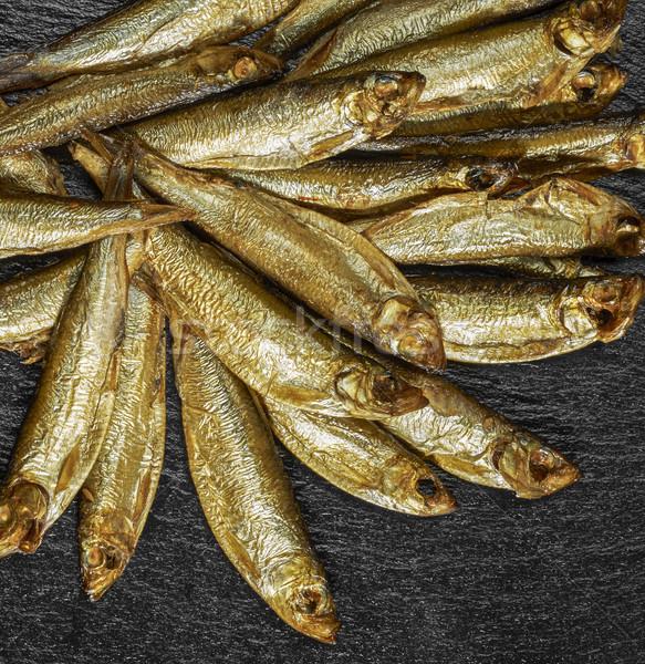 Füstölt friss sötét kő hal háttér Stock fotó © prill
