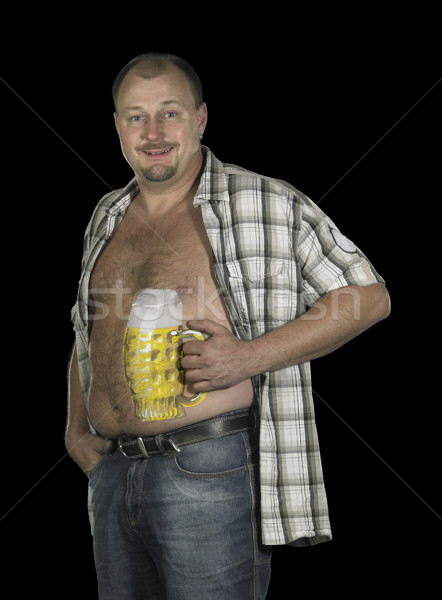 bodypainted beer belly Stock photo © prill