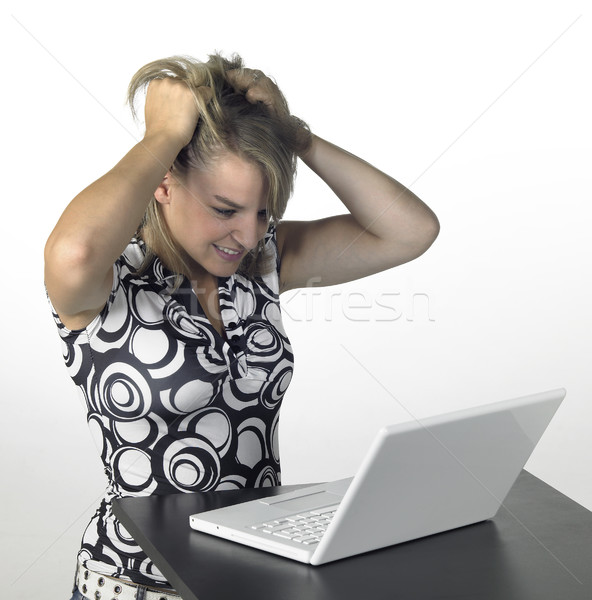 Cute meisje computer problemen blond laptop Stockfoto © prill
