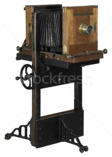 Nosztalgikus kamera fa kilátás fából készült fehér Stock fotó © prill