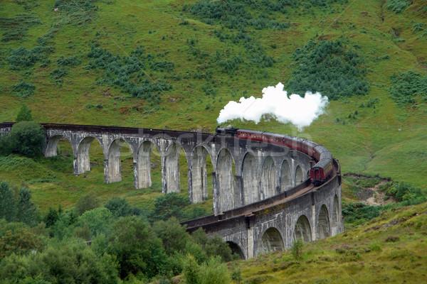 Glenfinnan Viaduct and steam train Stock photo © prill