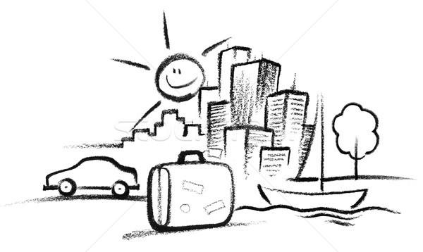 Vakantie illustratie verf teken communicatie toerisme Stockfoto © prill