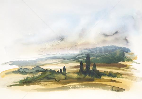 Тоскана акварель Живопись пейзаж лет Сток-фото © prill