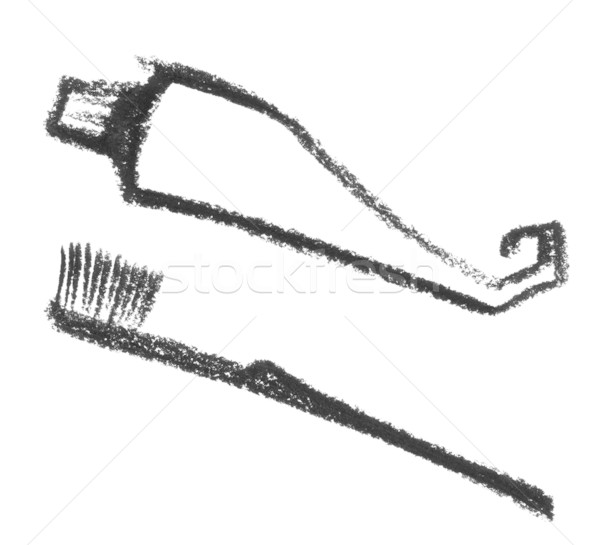 sketched toothbrush and toothpaste Stock photo © prill