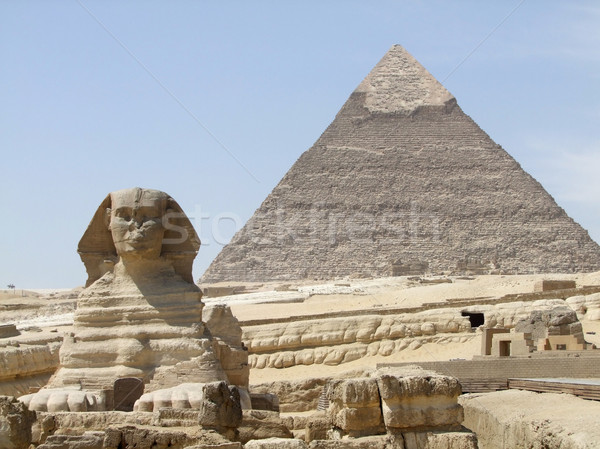 Sphinx and Pyramid of Khafre Stock photo © prill