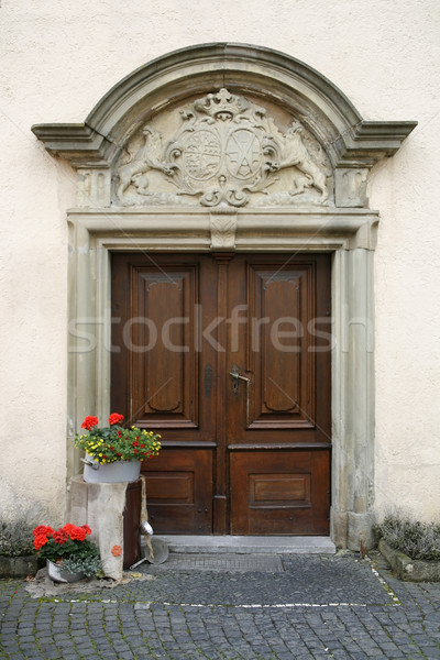 noble decorated entrance door Stock photo © prill