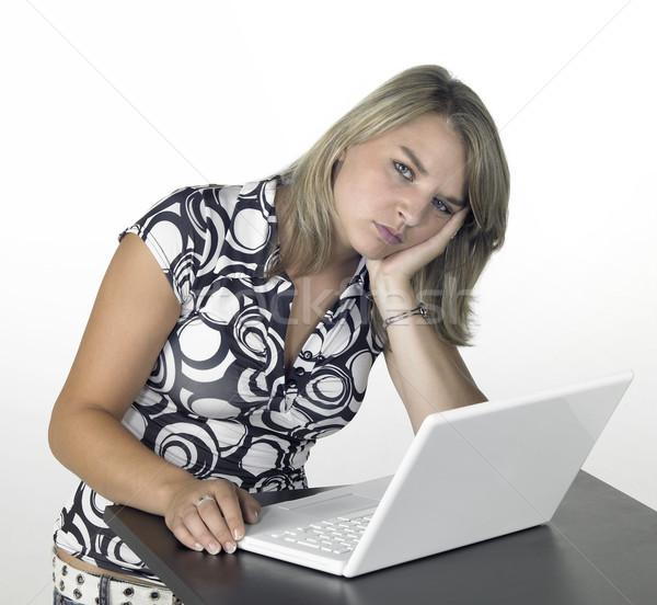 Szőke számítástechnika lány elvesz törik aranyos Stock fotó © prill