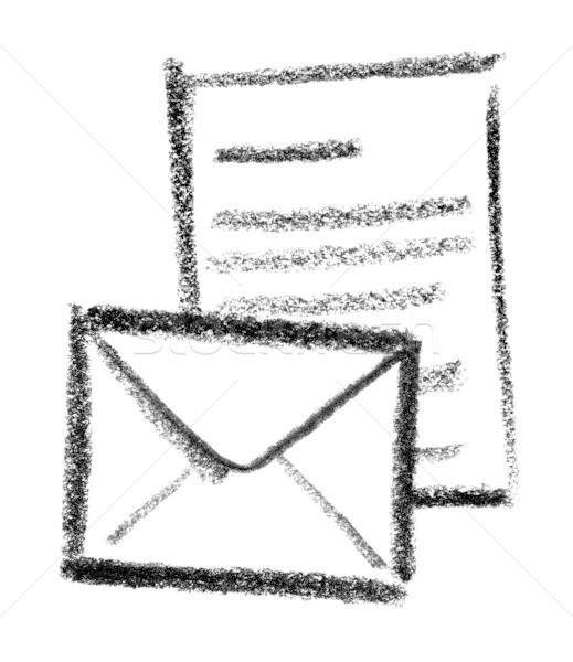 Stok fotoğraf: Mesaj · ikon · örnek · mektup · zarf · boya