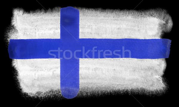 Finland vlag illustratie aquarel achtergrond kunst Stockfoto © prill