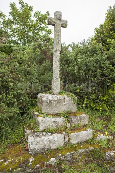 Kő feszület öreg részleg fű vallás Stock fotó © prill