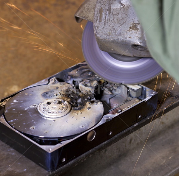 hard disk  drive and angle grinder Stock photo © prill