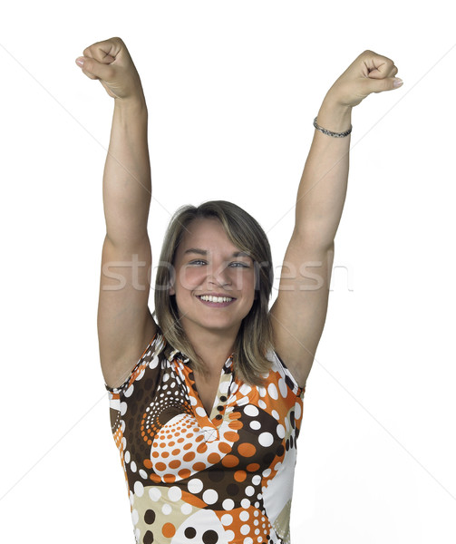 smiling blond girl has won Stock photo © prill
