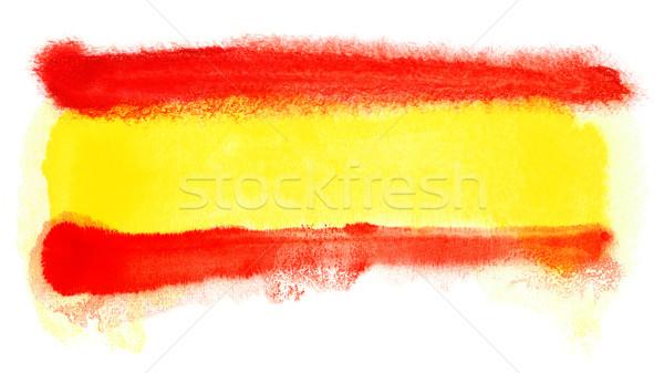 Spanje vlag illustratie aquarel achtergrond kunst Stockfoto © prill