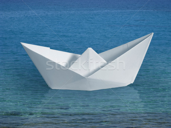 swimming paper boat Stock photo © prill