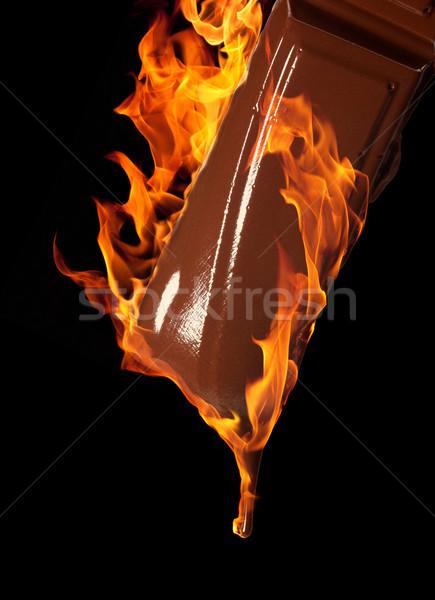 горячий шоколад сжигание кусок шоколадом черный Сток-фото © prill