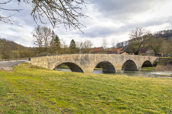 stone bridge in Oberregenbach in Hohenlohe Stock photo © prill