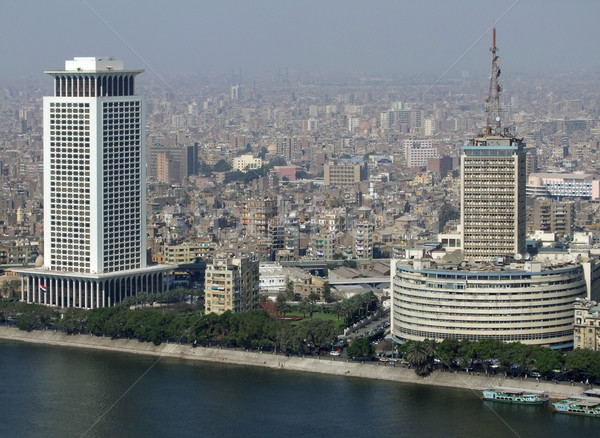 Cairo aerial view with Nile Stock photo © prill