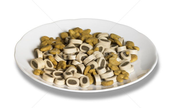 porcelain plate with cat food Stock photo © prill