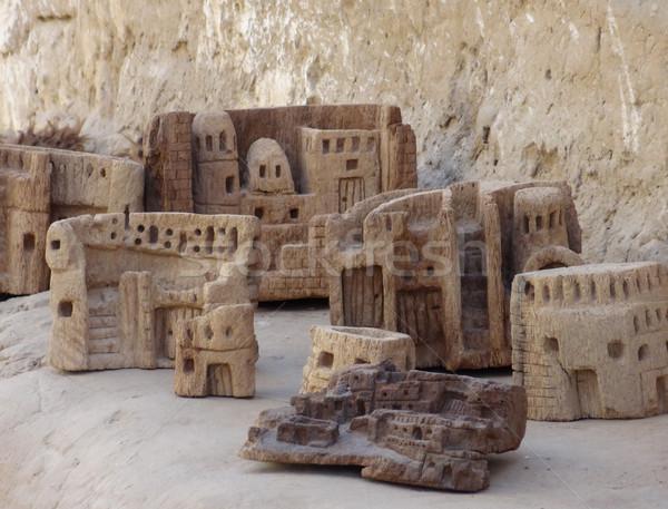 Dorp oase Egypte gebouw woestijn kunst Stockfoto © prill