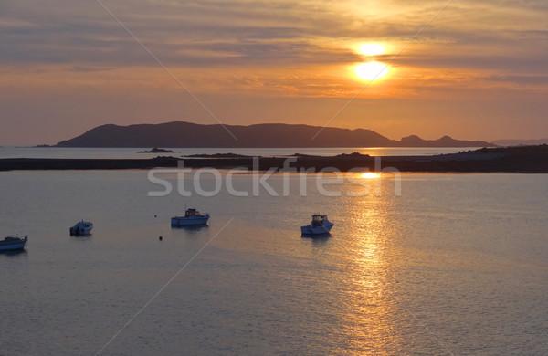 sundown at Pink Granite Coast Stock photo © prill