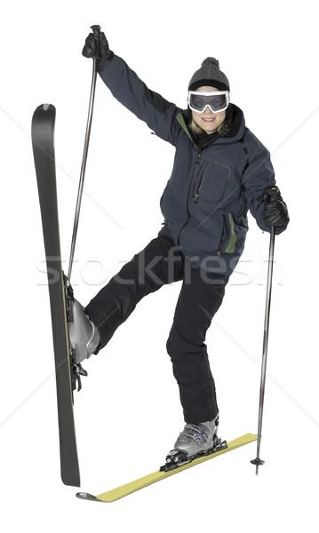 Weird skiën meisje geheel lichaam shot Stockfoto © prill