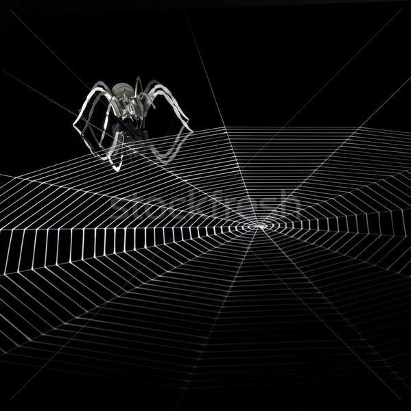 Metal aranha teia de aranha simplificada artificial vermelho Foto stock © prill