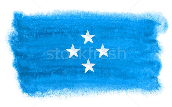 Micronesië vlag illustratie aquarel achtergrond kunst Stockfoto © prill