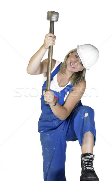 hammering girl dressed in workwear Stock photo © prill