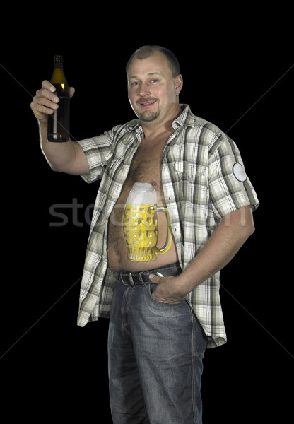 Stock photo: Bodypainting with beer belly