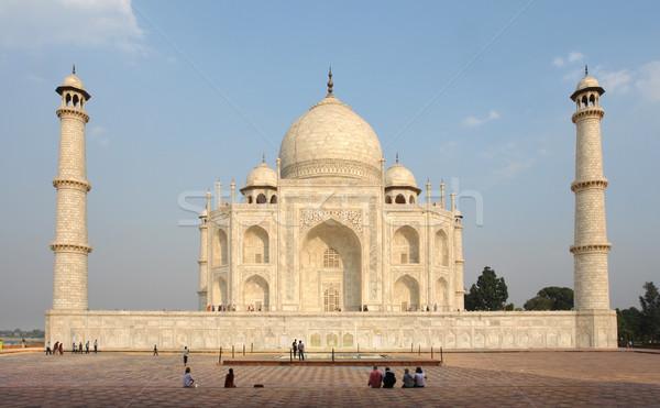 Taj Mahal mauzóleum India este idő fal Stock fotó © prill