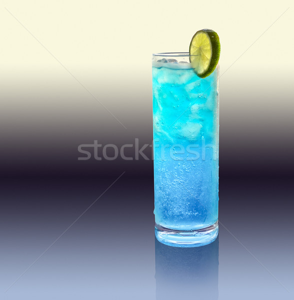 blue longdrink with lemon Stock photo © prill