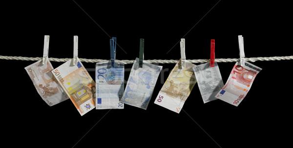 Waslijn geld euro bankbiljetten vast kleding Stockfoto © prill