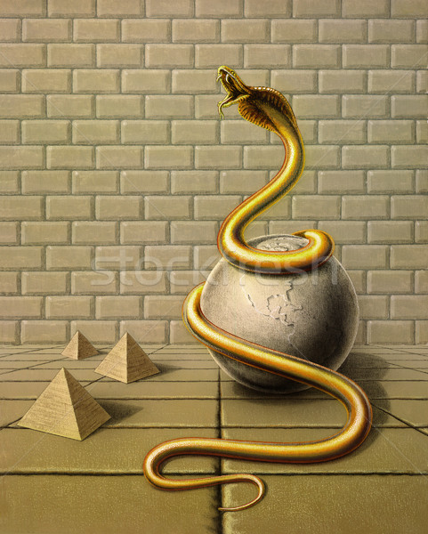 golden snake in surreal ambiance Stock photo © prill