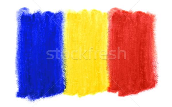 Romênia bandeira ilustração aquarela fundo pintura Foto stock © prill