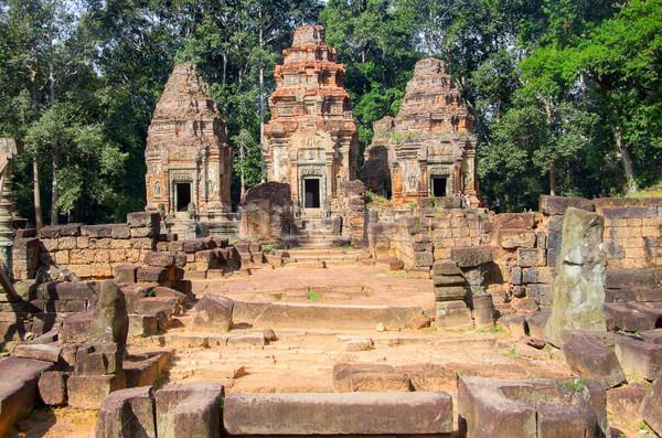 Angkor templo montanha Camboja arte pedra Foto stock © prill
