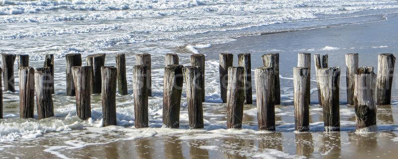coastal scenery with wooden pillars Stock photo © prill