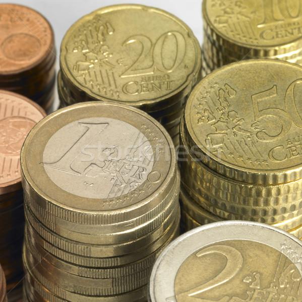 Stock fotó: Egymásra · pakolva · Euro · érmék · összes · pénzügy · pénz