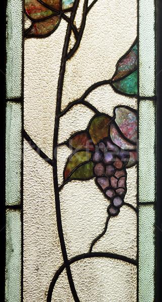 Glasmalerei Fenster Detail alten floral Bilder Stock foto © prill