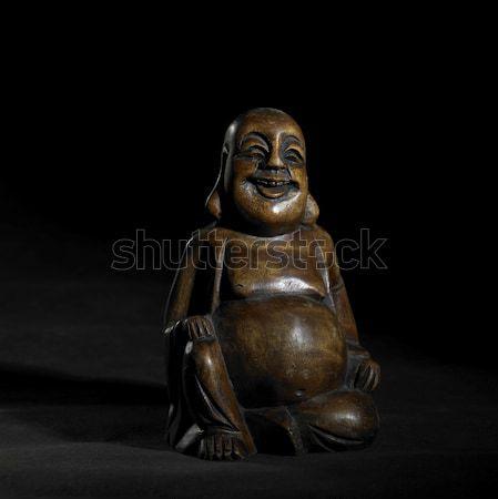 Sötét fából készült Buddha stúdió fotózás szobor Stock fotó © prill