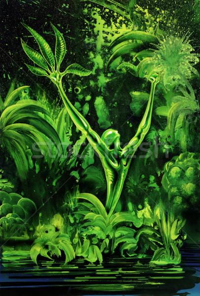 Surreale verde impianto foto verniciato me Foto d'archivio © prill