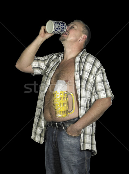 drinking man with beer belly Stock photo © prill
