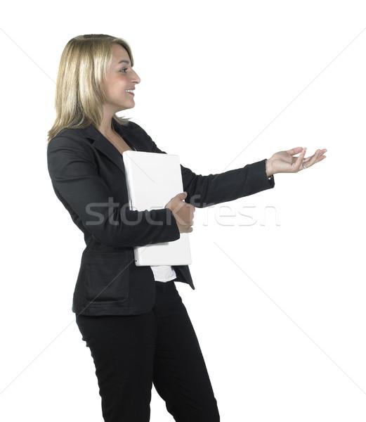 小さな 暗い ビジネス女性 ブロンド ノートパソコン ストックフォト © prill