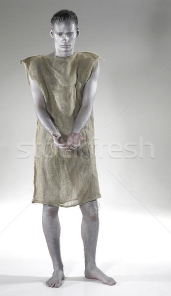 Pobre moço cinza de volta pintar Foto stock © prill