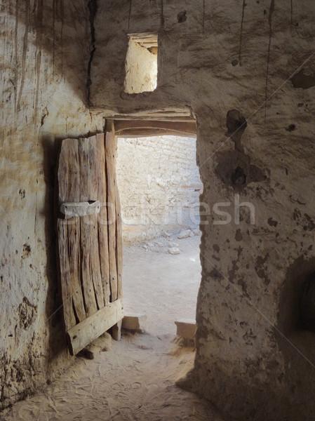オアシス 入り口 村 エジプト 家 建物 ストックフォト © prill