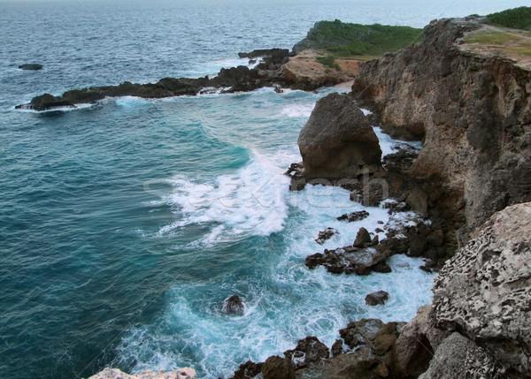 Sahil manzara caribbean ada okyanus kaya Stok fotoğraf © prill