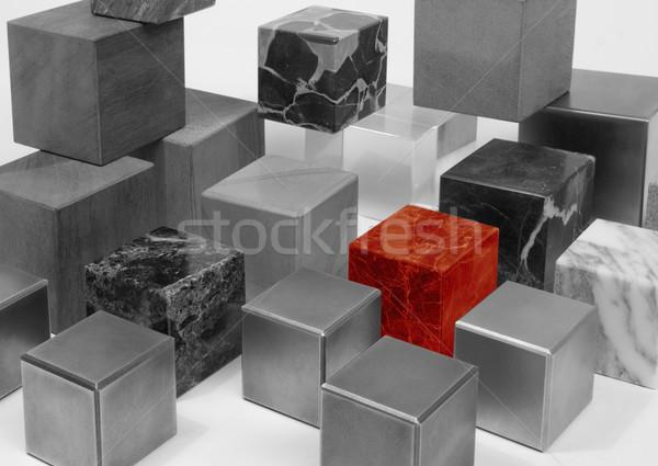 Cubes différent matériaux blanc noir exceptionnel Photo stock © prill