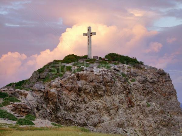 Krzyż górskich górę kolorowy zachód słońca dekoracje Zdjęcia stock © prill