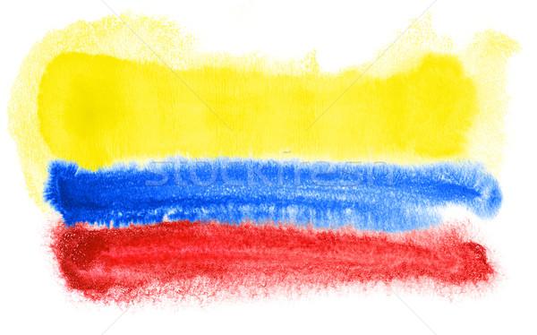 Colombia zászló illusztráció vízfesték háttér művészet Stock fotó © prill