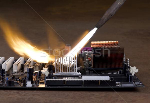 Hoofd- boord vernietiging vlam lassen brandend Stockfoto © prill